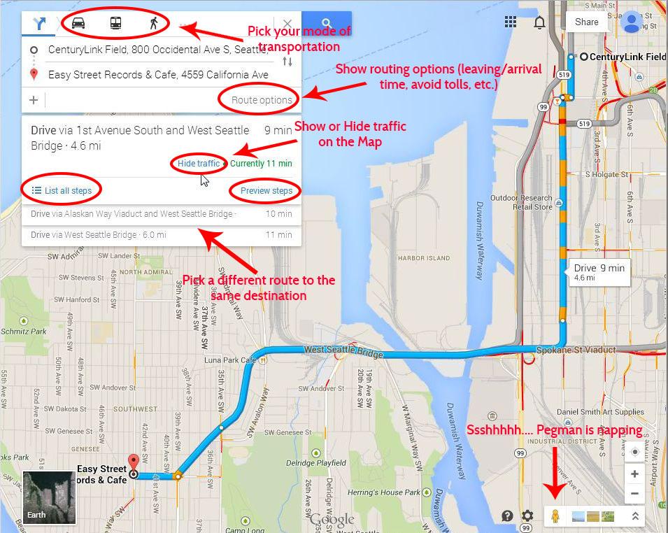 Google Maps Navigation Controls